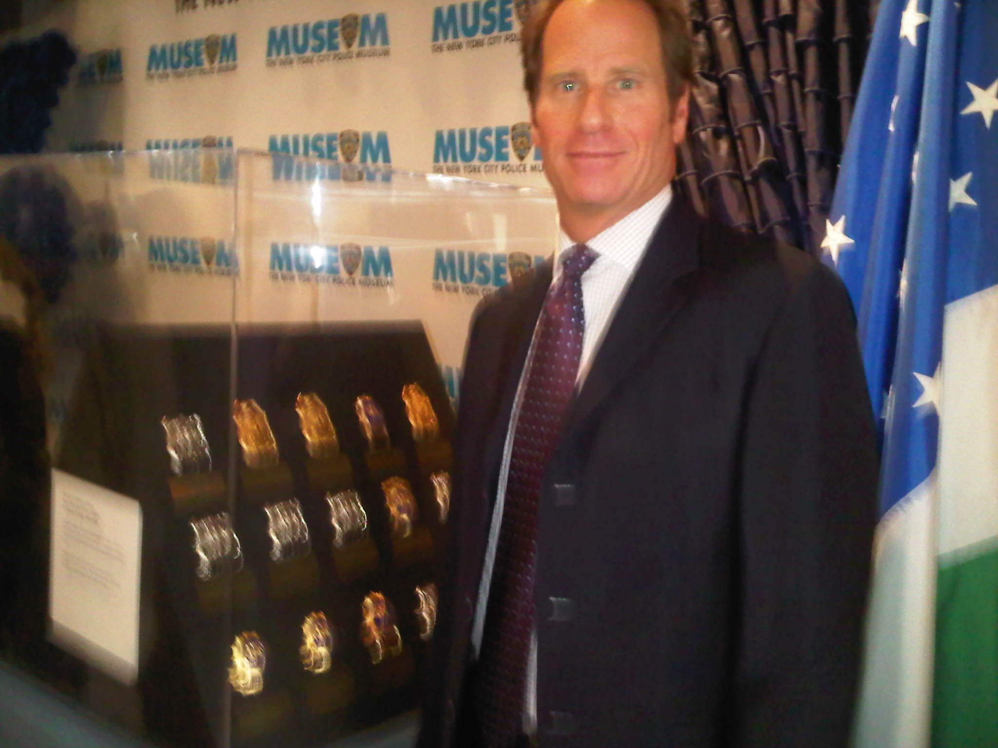 Kent M. Swig at NYCPM Sheilds display for fallen police officers