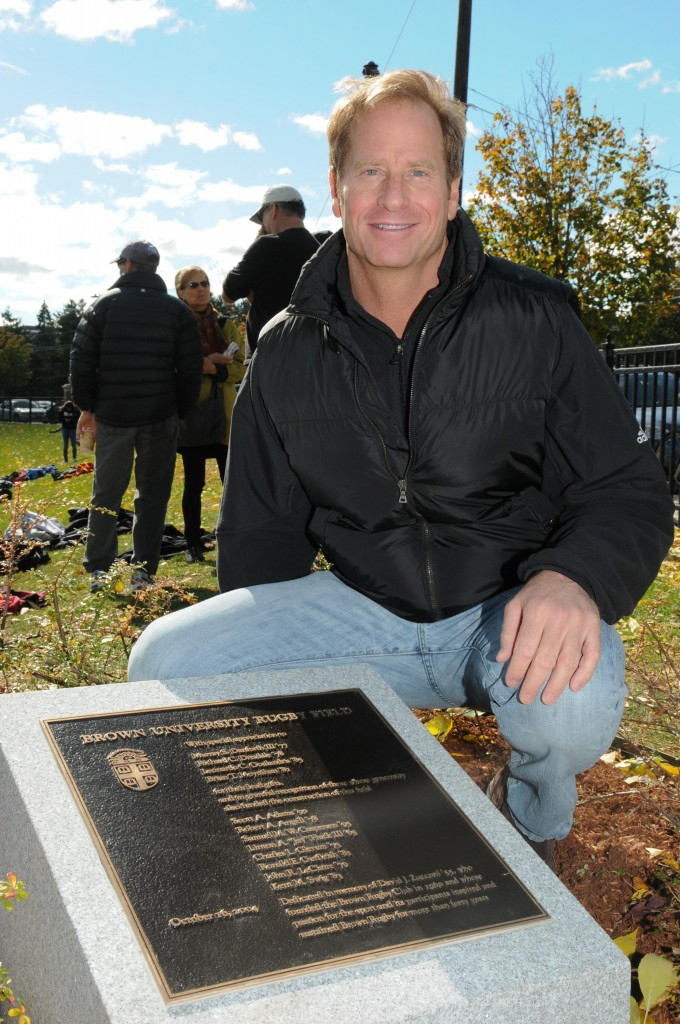 Kent Swig at the Brown rugby field plaque in memory of Dave Zucconi